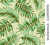 Seamless exotic pattern with tropical leaves  on a beige background. Vector illustration.  Vector illustration. - stock vector