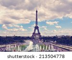 eiffel tower and fountain at... | Shutterstock . vector #213504778