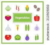 flat vegetable icons set....