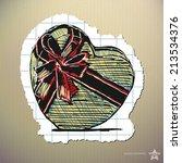 hand drawn heart shaped gift...   Shutterstock .eps vector #213534376