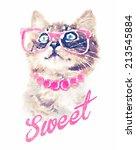 Постер, плакат: T shirt graphicscute cat illustrationwatercolor