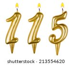 Small photo of candles number one hundred fifteen isolated on white background