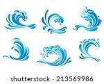 blue water waves symbols... | Shutterstock .eps vector #213569986