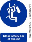 close safety bar of chairlift | Shutterstock .eps vector #213583294