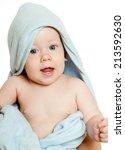 baby in a towel | Shutterstock . vector #213592630