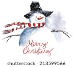 snowman  watercolor painting  | Shutterstock .eps vector #213599566