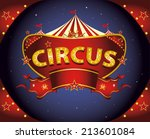 red night circus sign. a circus ... | Shutterstock .eps vector #213601084