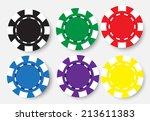 six poker chips isolated on... | Shutterstock .eps vector #213611383