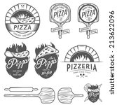 vintage pizzeria labels  badges ... | Shutterstock .eps vector #213622096