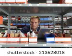 factory worker using digital... | Shutterstock . vector #213628018