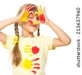 portrait of a cute girl showing ... | Shutterstock . vector #213637960