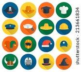 modern and old caps flat icons... | Shutterstock .eps vector #213661834