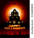 red halloween haunted house... | Shutterstock .eps vector #213680800