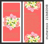 set of invitations with floral... | Shutterstock .eps vector #213682048