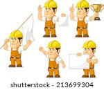 strong construction worker... | Shutterstock .eps vector #213699304
