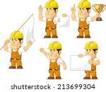 strong construction worker... | Shutterstock .eps vector #213699304