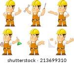 strong construction worker...   Shutterstock .eps vector #213699310