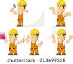 strong construction worker...   Shutterstock .eps vector #213699328