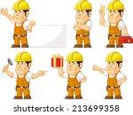 strong construction worker...   Shutterstock .eps vector #213699358