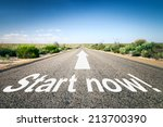 Small photo of An image of a road to the horizon with text start now!