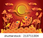 golden koi fish with full moon  ... | Shutterstock .eps vector #213711304