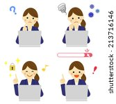 pc with business woman   vector ... | Shutterstock .eps vector #213716146