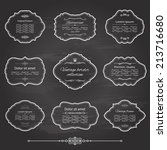 vintage frame set on chalkboard ... | Shutterstock .eps vector #213716680