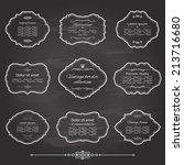 vintage frame set on chalkboard ... | Shutterstock .eps vector #213716680