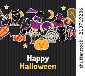 happy halloween greeting card... | Shutterstock .eps vector #213719236