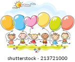 happy kids with colorful... | Shutterstock .eps vector #213721000