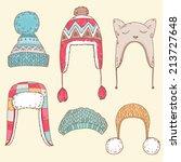 cute vector winter hats set