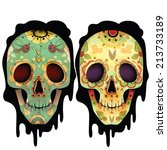 day of the dead skull vector... | Shutterstock .eps vector #213733189