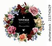 wreath of roses  watercolor ... | Shutterstock . vector #213743629