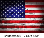 america flag with grunge wall... | Shutterstock . vector #213754234