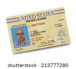 Stock photo us driver license isolated on white background 213777280