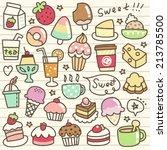 set of desert and drink doodle | Shutterstock .eps vector #213785500