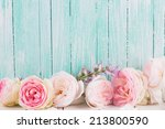 Stock photo fresh roses on wooden background place for text 213800590