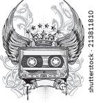 winged audio cassette  ... | Shutterstock .eps vector #213811810