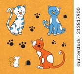 cats and mouse on orange... | Shutterstock . vector #213817900