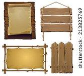 Set Of Vector Wood Elements Fo...
