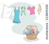 laundry in basket and hanging... | Shutterstock .eps vector #213845200