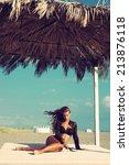 beautiful fashion woman posing...   Shutterstock . vector #213876118