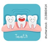 vector set funny teeth for... | Shutterstock .eps vector #213883414