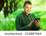 gadget user concept. portrait... | Shutterstock . vector #213887464