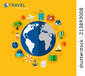 travel concept on orange... | Shutterstock . vector #213893008