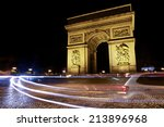 arc de triomphe at night full... | Shutterstock . vector #213896968