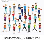 people talk and gather together ... | Shutterstock .eps vector #213897490