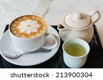 hot milk art coffee and tea  ... | Shutterstock . vector #213900304