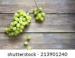 Bunch Green Grapes On Wooden...