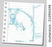 businessman pole vaulting   Shutterstock .eps vector #213904198